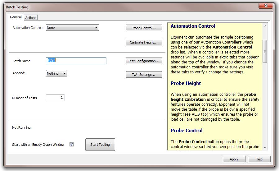 screenshot of batch testing