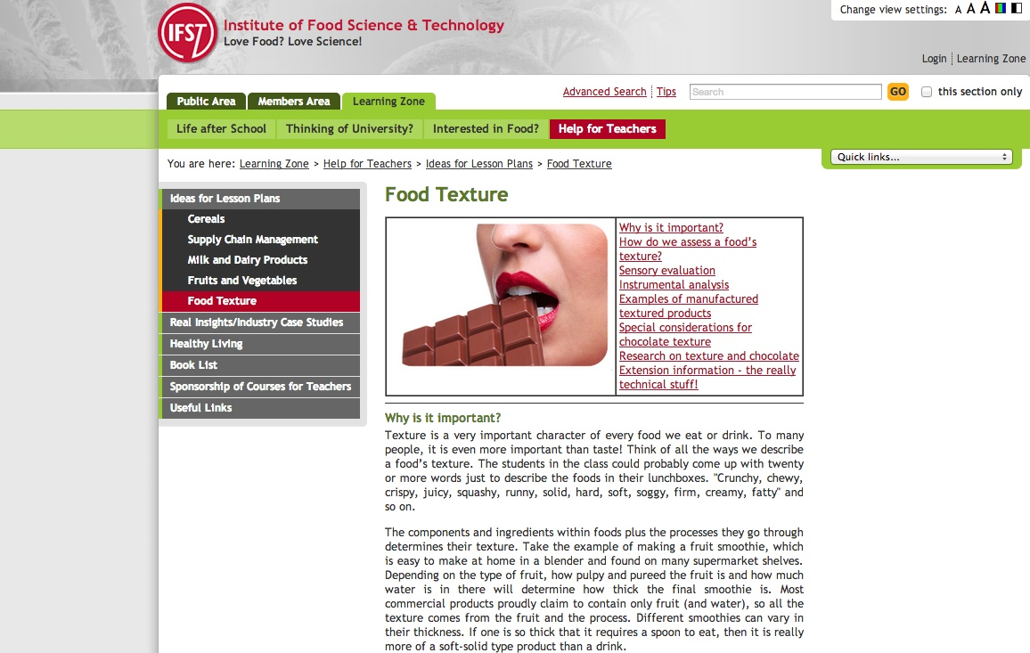 Screenshot from Institute of Food Science and Technology